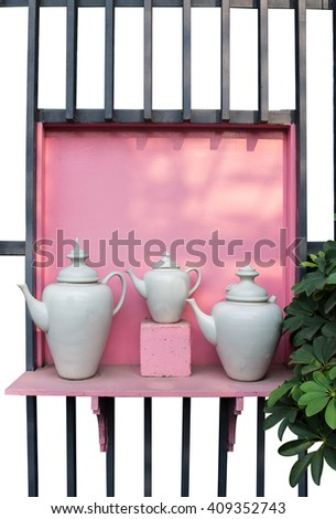 White pot on pink background - stock photo