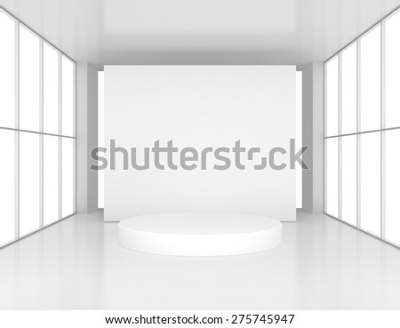 White presentation room with a round pedestal. 3d render - stock photo