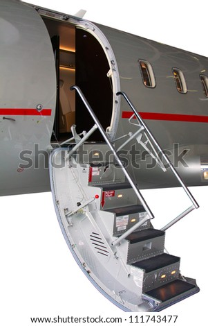 white private jet and open ladder private jet isolated on a white background - stock photo