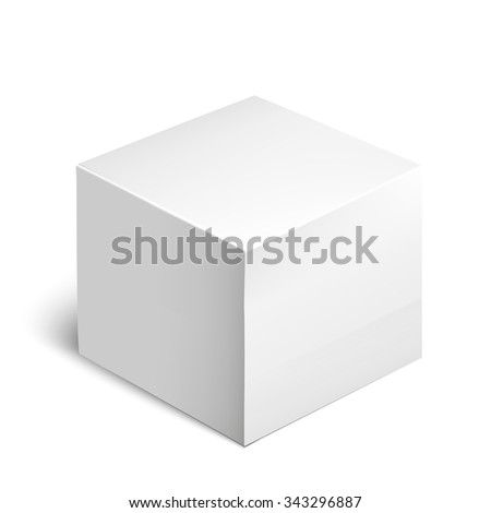 White Product Cardboard Package Box For Software, DVD, Electronic Device And Other Products. Mockup Template Ready For Your Design. White box on a white background. Volume realistic box - stock photo