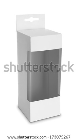 White Product Package Box With Window isolated over white background. - stock photo
