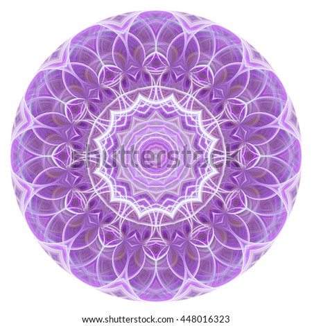 White purple  flower floral design kaleidoscope pattern design  oval circle orb pretty illustration background backdrop loops  - stock photo