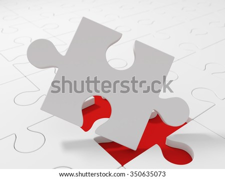 White puzzle pieces, close up view. Choice - stock photo