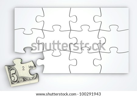 white puzzle template - one piece with 5 Dollar note separately - top view - stock photo
