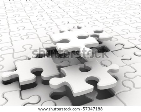 White puzzles - stock photo