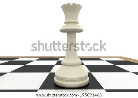 White queen on chess board on white background - stock photo