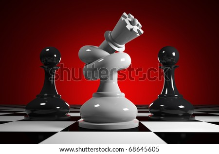 White queen tied to knot, stands between two black pawns on red back ground - stock photo