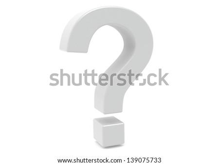 White question mark - stock photo