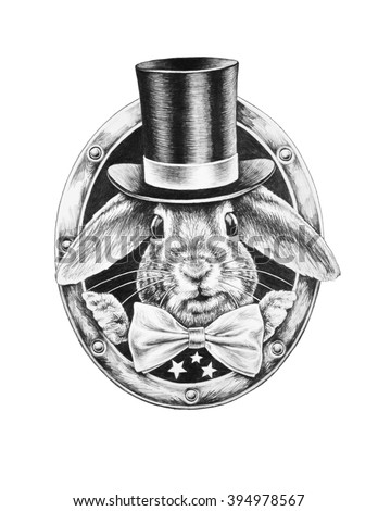 White Rabbit in a black hat and a bow tie. T-shirts design. Pencil illustration. - stock photo