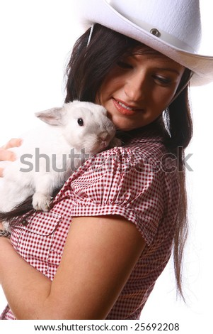 white rabbit with bunny - stock photo