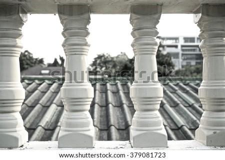 white railing - stock photo