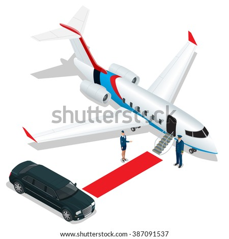 White reactive private jet. White private jet and open ladder, red carpet at the airport. Small private airplane. 3d flat isometric illustration. Business airlines.  - stock photo