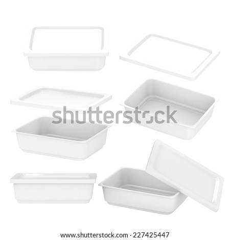 White  rectangle plastic container for food production like fresh food, convenience food or frozen food. Template for  your design or artwork, clipping path included  - stock photo
