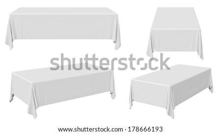 White rectangular tablecloth set isolated on white, 3d illustration - stock photo