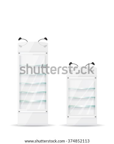 White refrigerator with glass shelves - stock photo