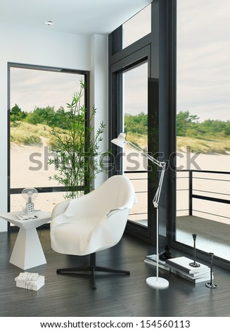 White relax chair against windows with beach view - stock photo