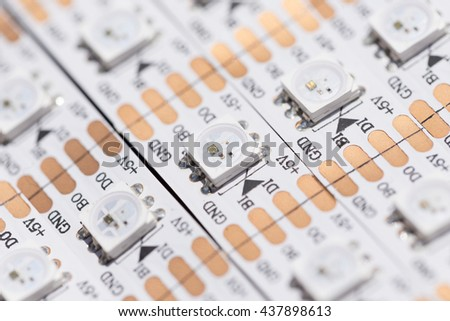white RGB LED adhesive tape for lighting - stock photo