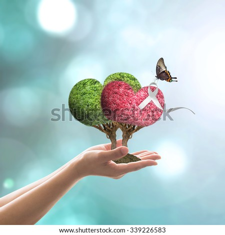 White ribbon awareness on red and green heart tree with butterfly on woman's hands on blur abstract cyan blue color background: International Day for the Elimination of Violence against Women concept  - stock photo