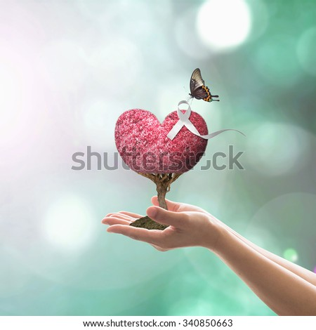 White ribbon awareness on red love heart tree with butterfly on woman's hands on blurred abstract background of cyan blue sky: International Day for the Elimination of Violence against Women concept - stock photo