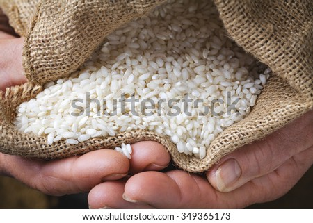 white rice in old hand - stock photo