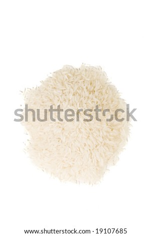 White rice on white ground - stock photo