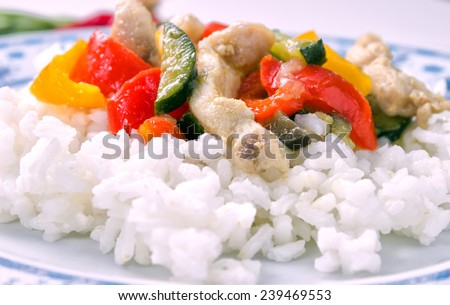 White rice with meat and peppers - stock photo