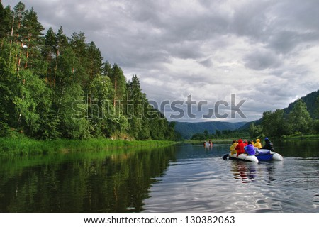 white river rafting in the southern Urals - stock photo