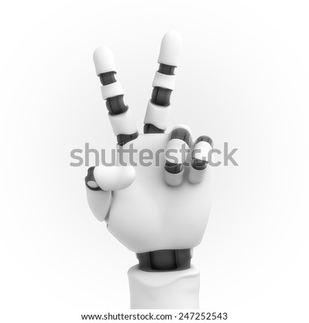 white robot hand on white background - stock photo