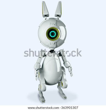 White robot rabbit with one eye looking at you. Robotic rabbit. Banny bot 3d render - stock photo