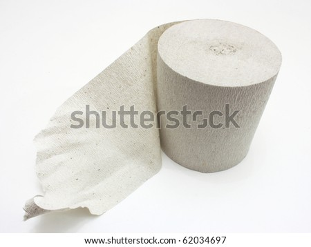 White roll of toilet paper isolated on white material; - stock photo