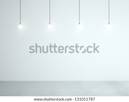white room and ceiling lamps - stock photo