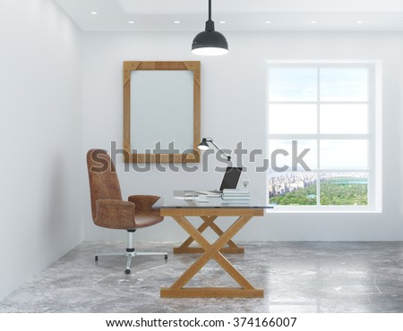 White room in the loft style with a desk and chair and a picture frame on the wall 3D Render - stock photo