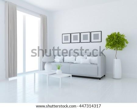 White room interior. Living room interior. Scandinavian interior. 3d illustration - stock photo