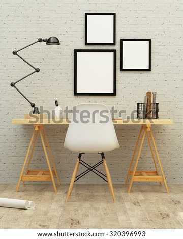 White room interior with a brick wall. 3d rendering - stock photo