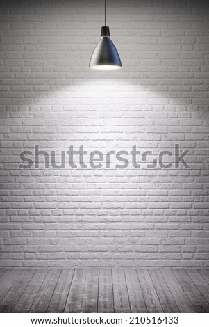 white room interior with turn on lamp - stock photo