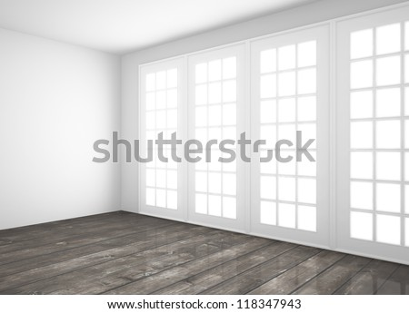 white room with big window and wood floor - stock photo