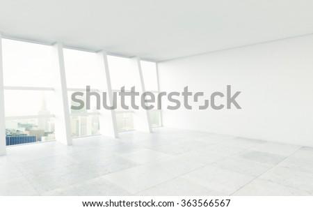 white room with big window to city - stock photo