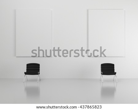 White room with black chairs, with a reflective floor, and two white posters with clean blank for branding design, advertising, text oor photo. 3d illustration - stock photo
