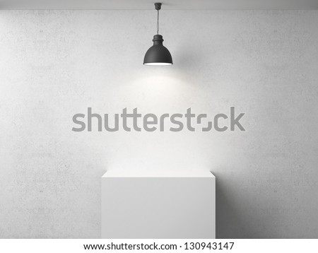 white room with presentation cube - stock photo
