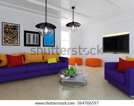 white room with purple furniture. 3d illustration - stock photo