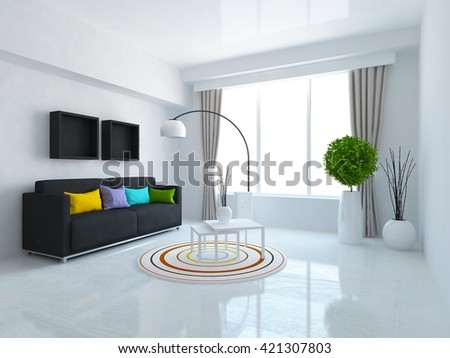 White room with sofa and curtains on the window. Living room interior. Scandinavian interior. 3d illustration - stock photo