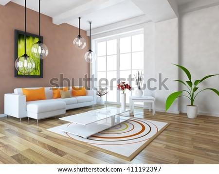 White room with sofa. Scandinavian interior. 3d illustration - stock photo