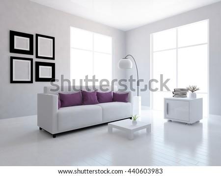 White room with sofa with marsala pillows. Living room interior. Scandinavian interior. 3d illustration - stock photo