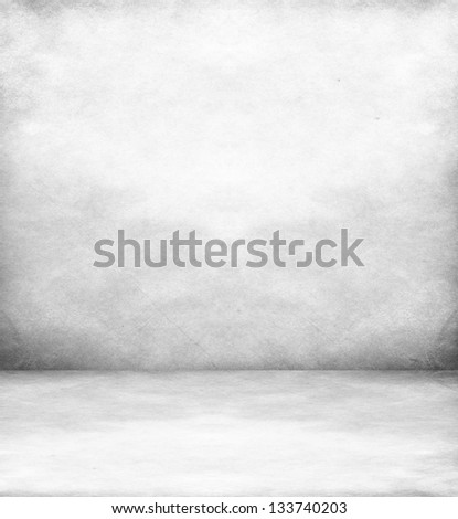 White room with white wood floor - stock photo