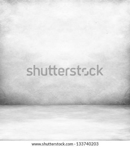 White room with white wood floor - stock photo