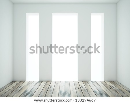 white room with wood floor - stock photo