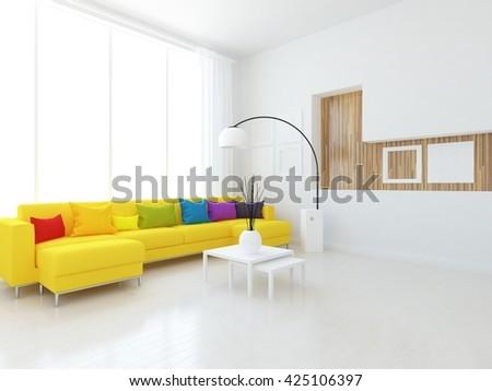 White room with yellow sofa. Living room interior. Scandinavian interior. 3d illustration - stock photo