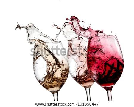 White, rose and red wine splash - stock photo