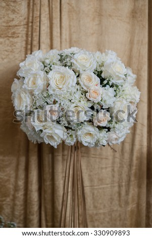 White rose bouquet, Beautiful fresh spring flowers on cloth, top view - stock photo