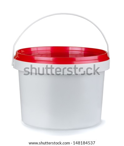 White round plastic food container isolated on white - stock photo